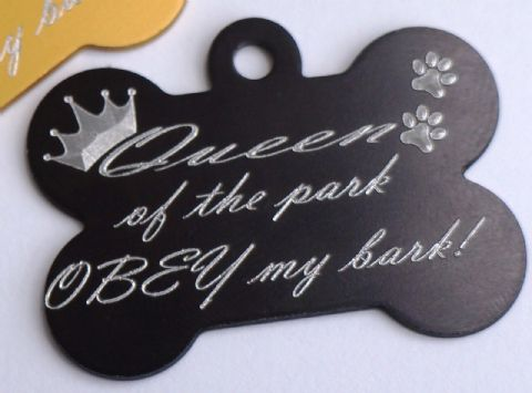 FUNNY DOG TAG PERSONALISED ENGRAVED BONE TAG QUEEN OF THE PARK OBEY MY BARK